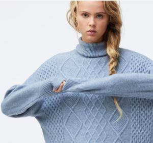 pull bleu torsadé femme oysho sélection homewear